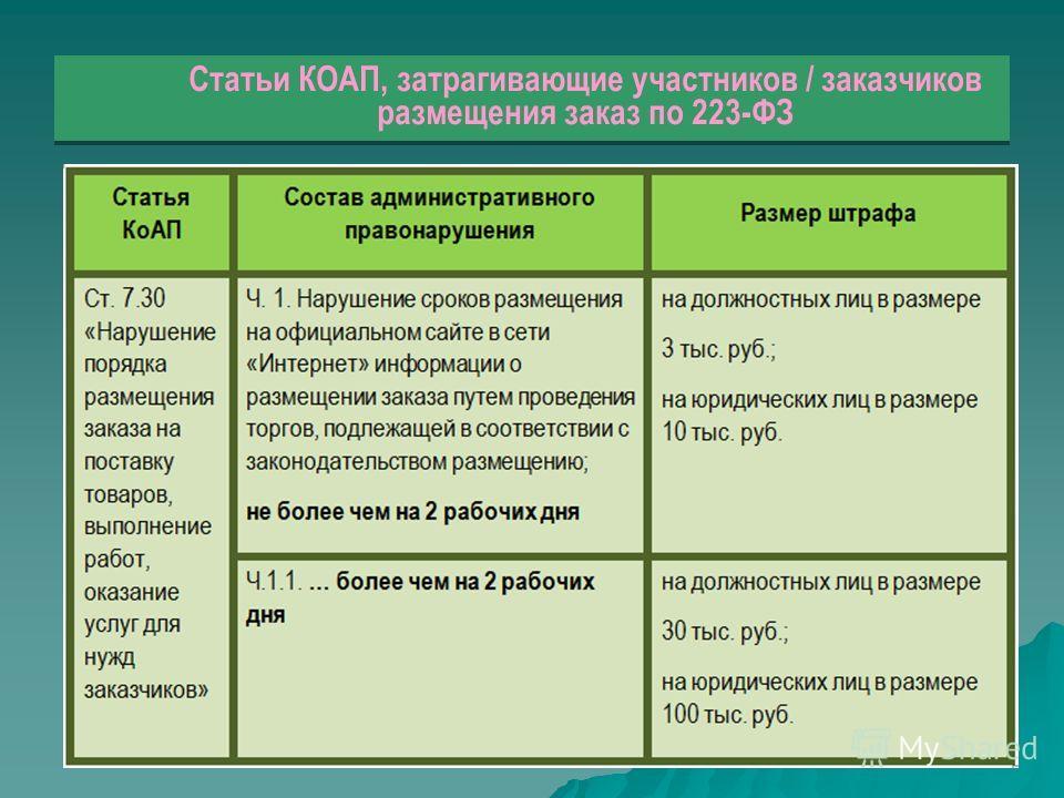 Статьи КОАП, затрагивающие участников / заказчиков размещения заказ по 223-ФЗ