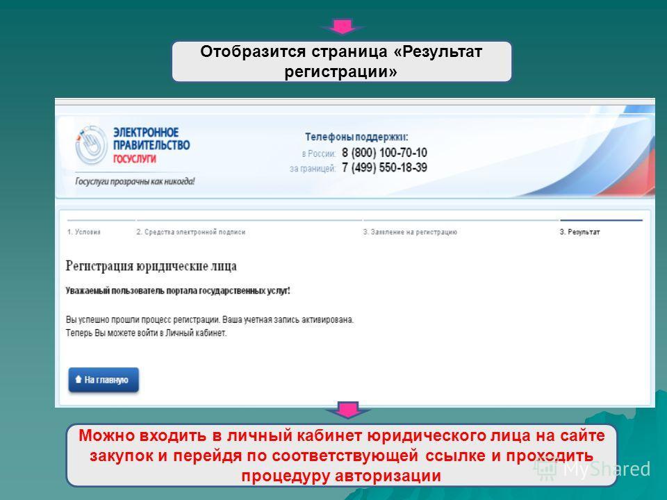 Отобразится страница «Результат регистрации» Можно входить в личный кабинет юридического лица на сайте закупок и перейдя по соответствующей ссылке и проходить процедуру авторизации