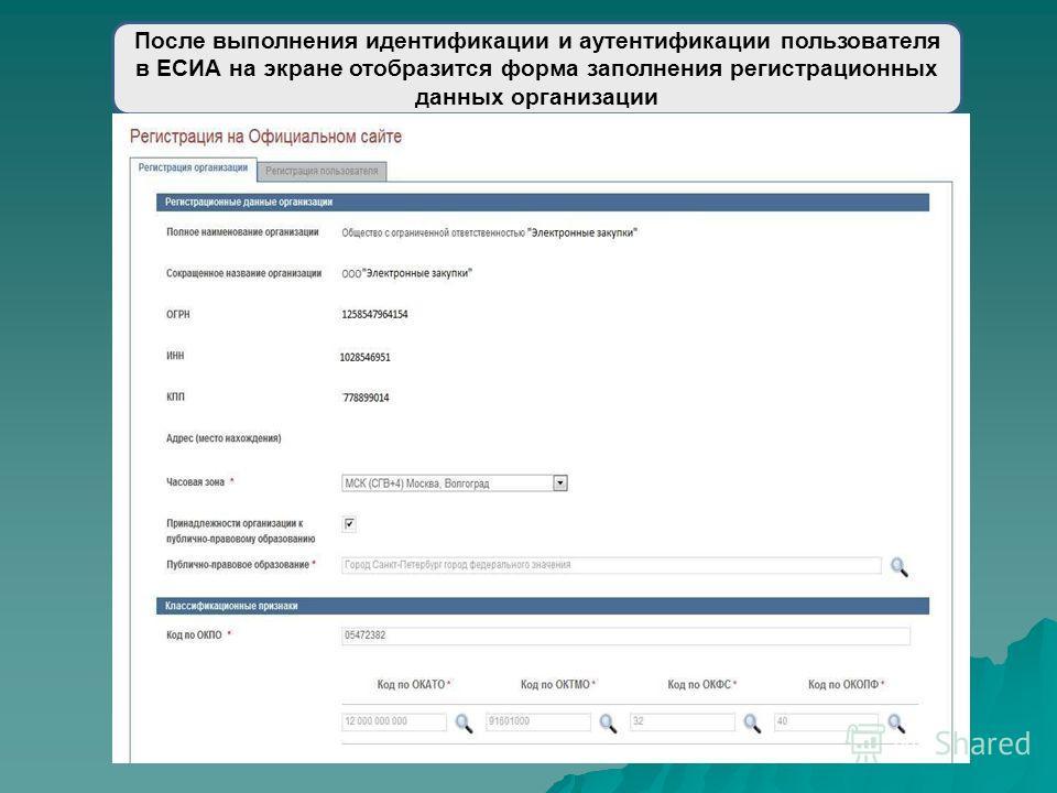 После выполнения идентификации и аутентификации пользователя в ЕСИА на экране отобразится форма заполнения регистрационных данных организации