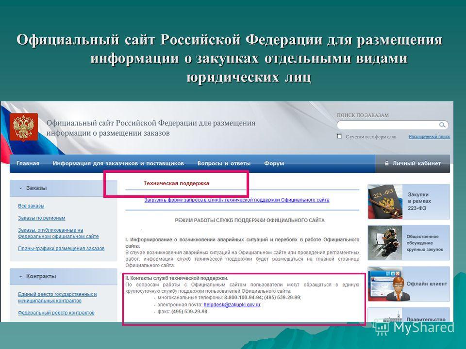 Официальный сайт Российской Федерации для размещения информации о закупках отдельными видами юридических лиц оооо оооо