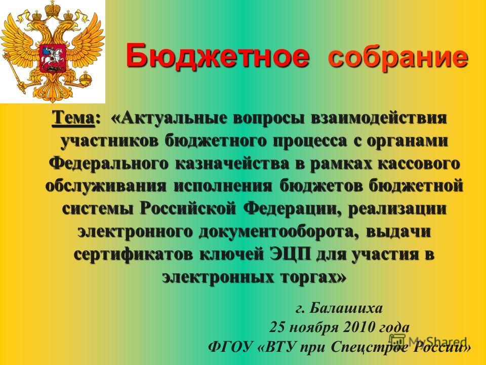 Тема: «Актуальные вопросы взаимодействия участников бюджетного процесса с органами Федерального казначейства в рамках кассового обслуживания исполнения бюджетов бюджетной системы Российской Федерации, реализации электронного документооборота, выдачи