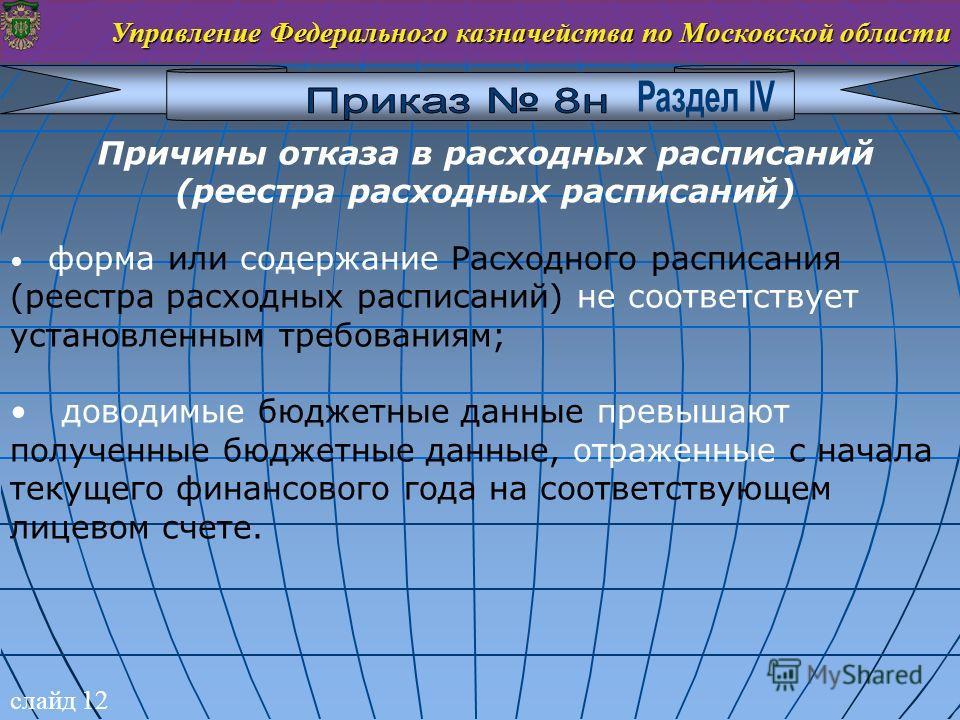 слайд 12 Управление Федерального казначейства по Московской области Причины отказа в расходных расписаний (реестра расходных расписаний) форма или содержание Расходного расписания (реестра расходных расписаний) не соответствует установленным требован