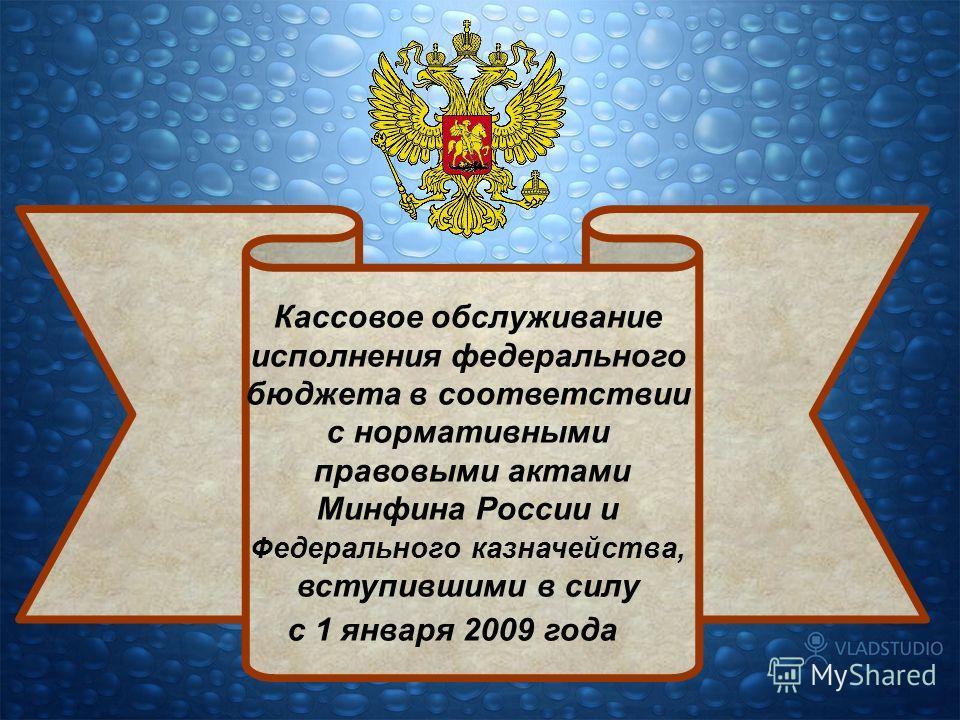 Кассовое обслуживание исполнения федерального бюджета в соответствии с нормативными правовыми актами Минфина России и Федерального казначейства, вступившими в силу с 1 января 2009 года