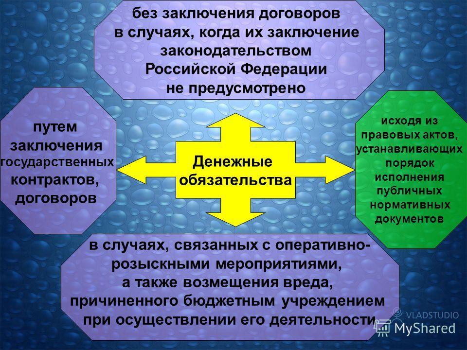 Денежные обязательства без заключения договоров в случаях, когда их заключение законодательством Российской Федерации не предусмотрено путем заключения государственных контрактов, договоров исходя из правовых актов, устанавливающих порядок исполнения