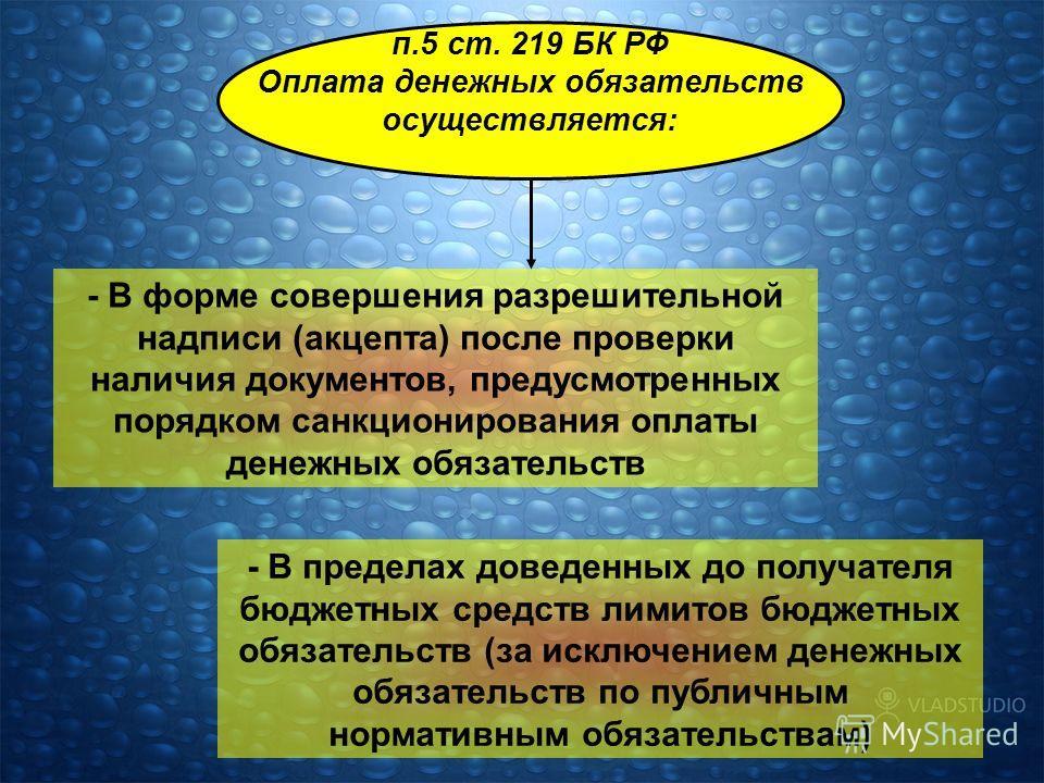 п.5 ст. 219 БК РФ Оплата денежных обязательств осуществляется: - В форме совершения разрешительной надписи (акцепта) после проверки наличия документов, предусмотренных порядком санкционирования оплаты денежных обязательств - В пределах доведенных до