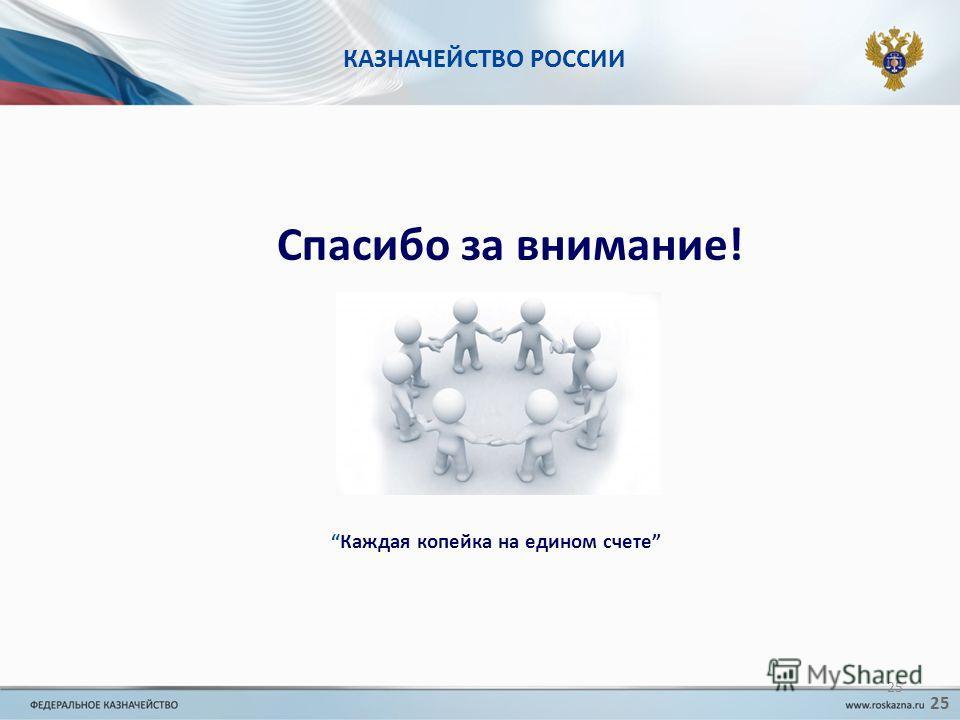 КАЗНАЧЕЙСТВО РОССИИ Спасибо за внимание! Каждая копейка на едином счете 25