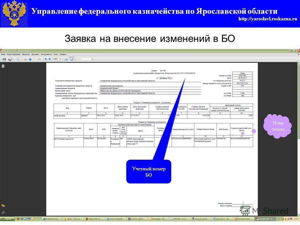 Управление федерального казначейства по Ярославской области http://yaroslavl.roskazna.ru Заявка на внесение изменений в БО Учетный номер БО Изме нение
