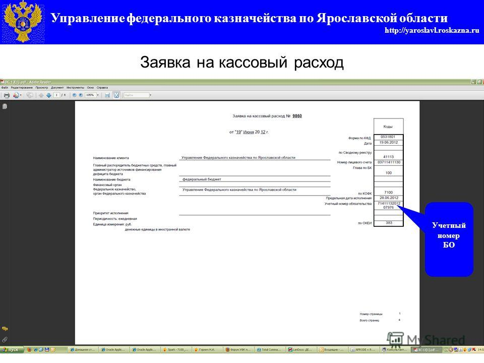 Управление федерального казначейства по Ярославской области http://yaroslavl.roskazna.ru Заявка на кассовый расход Учетный номер БО