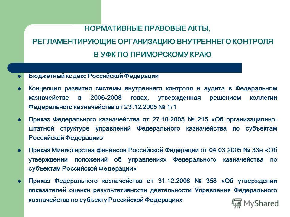 НОРМАТИВНЫЕ ПРАВОВЫЕ АКТЫ, РЕГЛАМЕНТИРУЮЩИЕ ОРГАНИЗАЦИЮ ВНУТРЕННЕГО КОНТРОЛЯ В УФК ПО ПРИМОРСКОМУ КРАЮ Бюджетный кодекс Российской Федерации Концепция развития системы внутреннего контроля и аудита в Федеральном казначействе в 2006-2008 годах, утверж