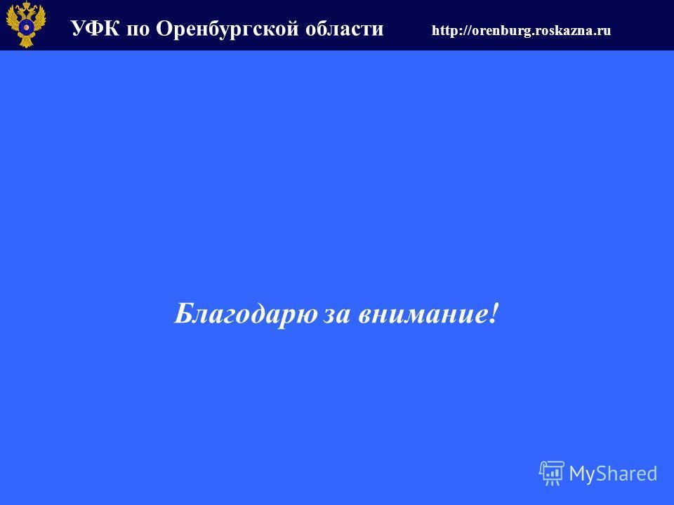 УФК по Оренбургской области http://orenburg.roskazna.ru Благодарю за внимание!