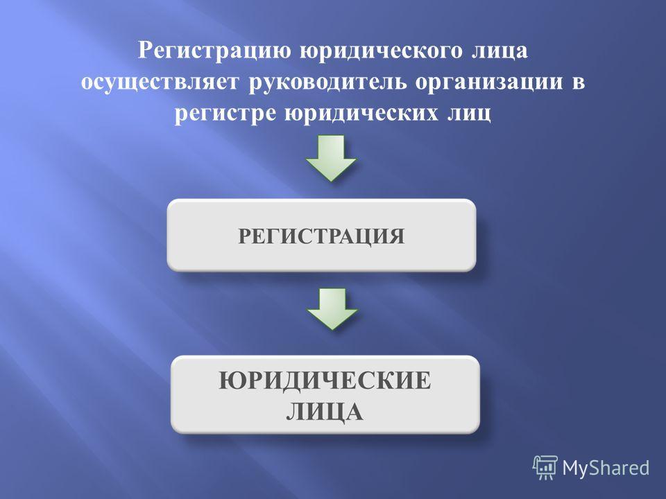 Регистрацию юридического лица осуществляет руководитель организации в регистре юридических лиц