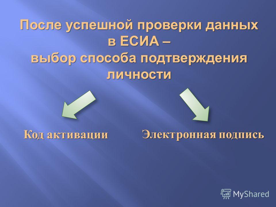 После успешной проверки данных в ЕСИА – выбор способа подтверждения личности Код активации Электронная подпись