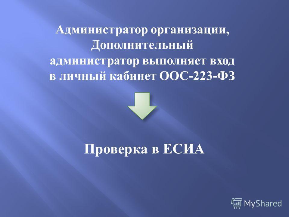 Администратор организации, Дополнительный администратор выполняет вход в личный кабинет ООС-223-ФЗ Проверка в ЕСИА