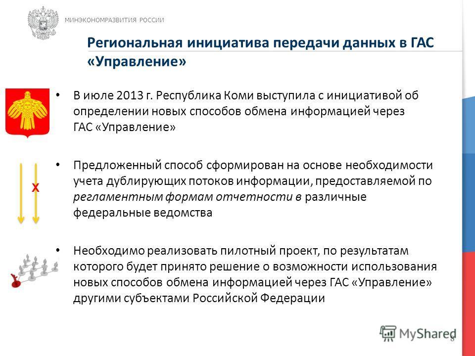 8 В июле 2013 г. Республика Коми выступила с инициативой об определении новых способов обмена информацией через ГАС «Управление» Предложенный способ сформирован на основе необходимости учета дублирующих потоков информации, предоставляемой по регламен