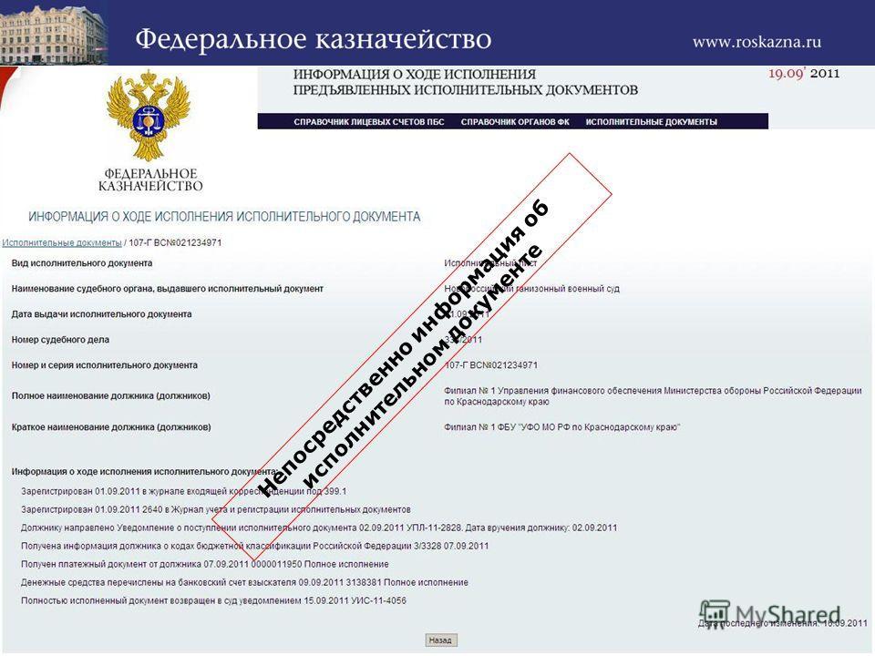 Непосредственно информация об исполнительном документе