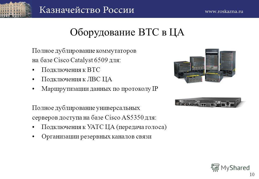 10 Оборудование ВТС в ЦА Полное дублирование коммутаторов на базе Cisco Catalyst 6509 для: Подключения к ВТС Подключения к ЛВС ЦА Маршрутизации данных по протоколу IP Полное дублирование универсальных серверов доступа на базе Cisco AS5350 для: Подклю