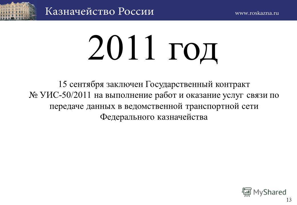 13 2011 год 15 сентября заключен Государственный контракт УИС-50/2011 на выполнение работ и оказание услуг связи по передаче данных в ведомственной транспортной сети Федерального казначейства