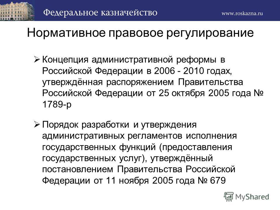Нормативное правовое регулирование Концепция административной реформы в Российской Федерации в 2006 - 2010 годах, утверждённая распоряжением Правительства Российской Федерации от 25 октября 2005 года 1789-р Порядок разработки и утверждения администра