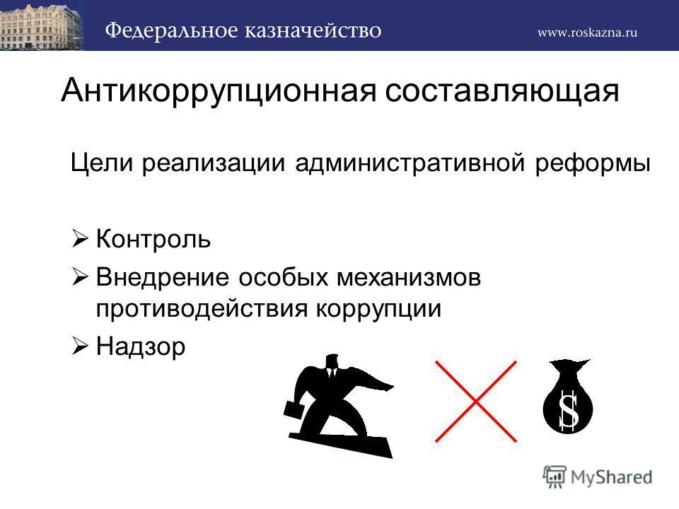 Антикоррупционная составляющая Цели реализации административной реформы Контроль Внедрение особых механизмов противодействия коррупции Надзор