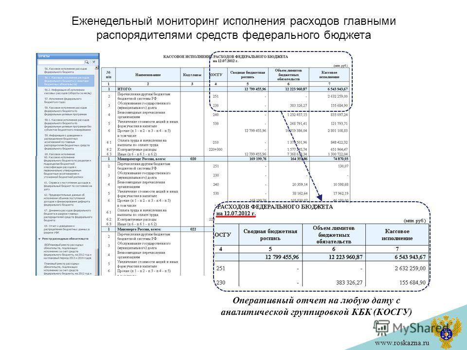 www.roskazna.ru Оперативный отчет на любую дату с аналитической группировкой КБК (КОСГУ) Еженедельный мониторинг исполнения расходов главными распорядителями средств федерального бюджета