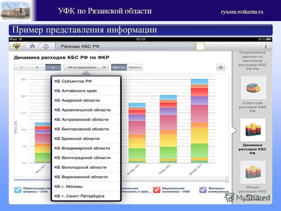 УФК по Рязанской области ryazan.roskazna.ru Пример представления информации
