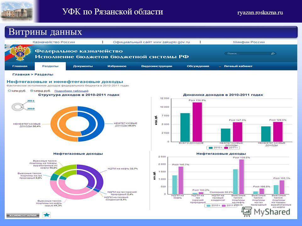 УФК по Рязанской области ryazan.roskazna.ru Витрины данных
