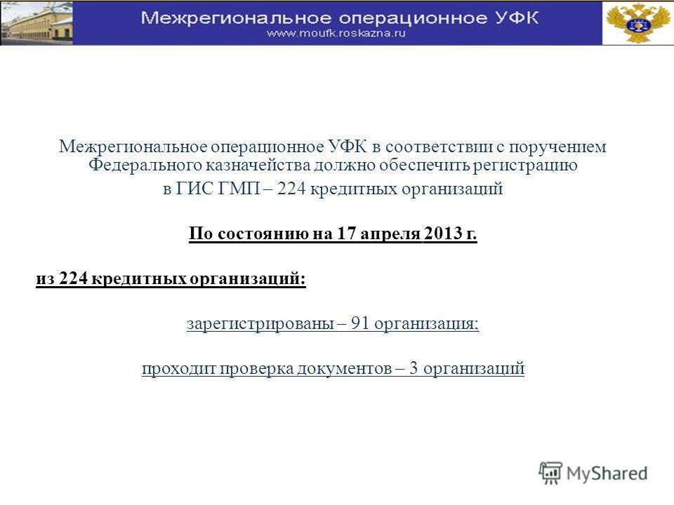 Межрегиональное операционное УФК в соответствии с поручением Федерального казначейства должно обеспечить регистрацию в ГИС ГМП – 224 кредитных организаций По состоянию на 17 апреля 2013 г. из 224 кредитных организаций: зарегистрированы – 91 организац
