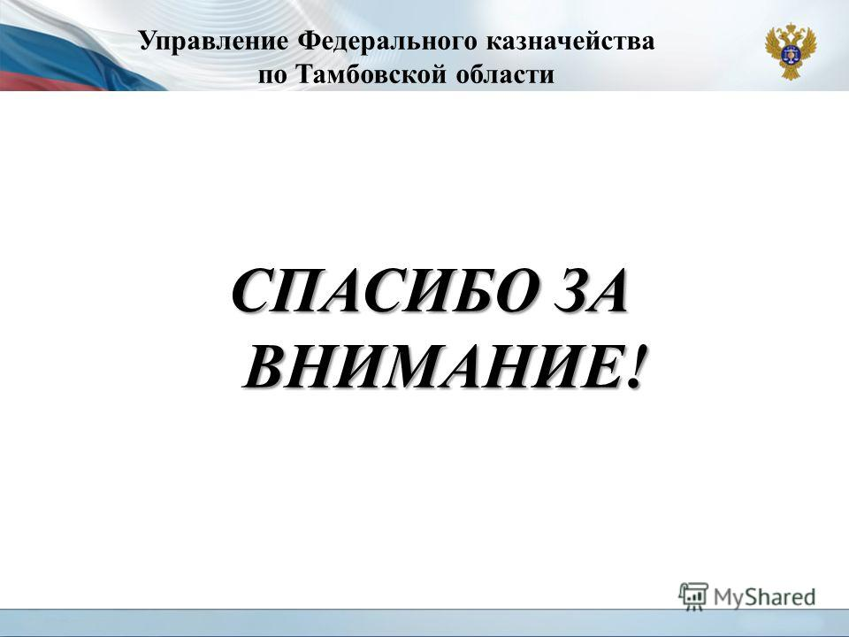 Управление Федерального казначейства по Тамбовской области СПАСИБО ЗА ВНИМАНИЕ!