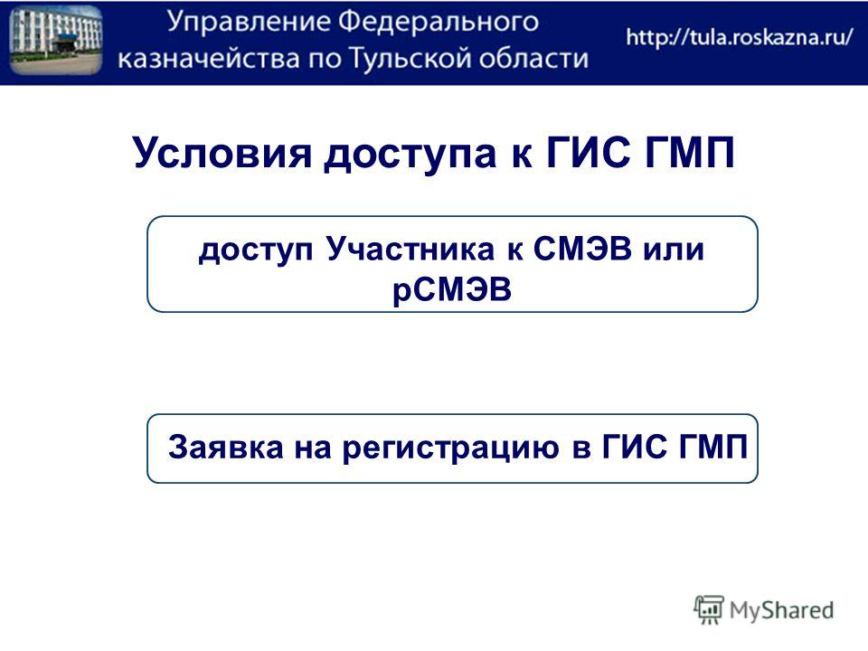 Условия доступа к ГИС ГМП доступ Участника к СМЭВ или рСМЭВ Заявка на регистрацию в ГИС ГМП