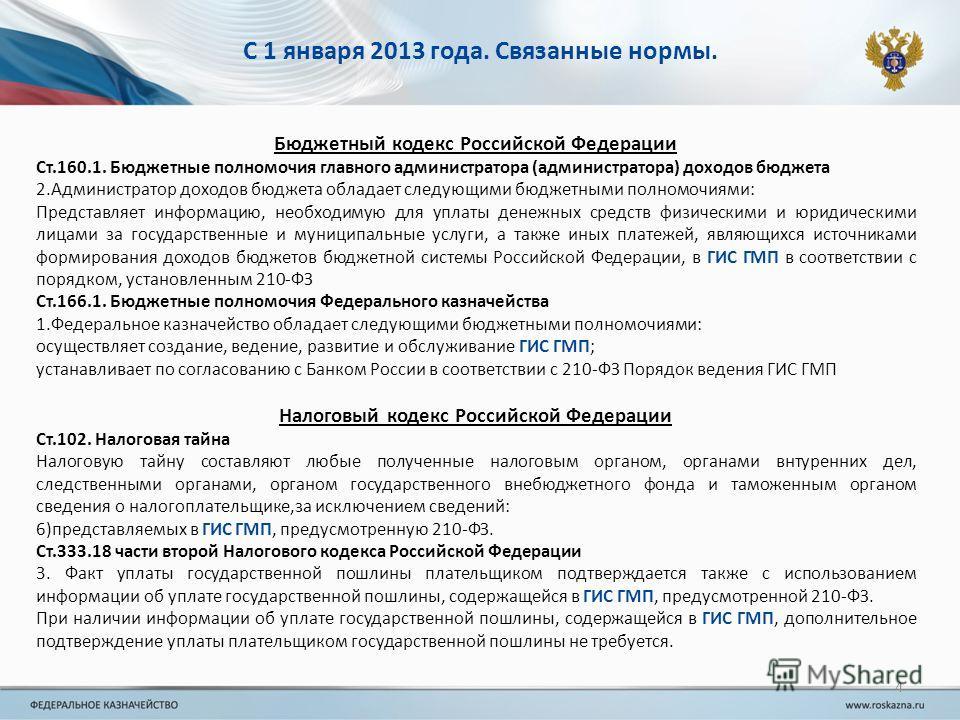 С 1 января 2013 года. Связанные нормы. Бюджетный кодекс Российской Федерации Ст.160.1. Бюджетные полномочия главного администратора (администратора) доходов бюджета 2.Администратор доходов бюджета обладает следующими бюджетными полномочиями: Представ