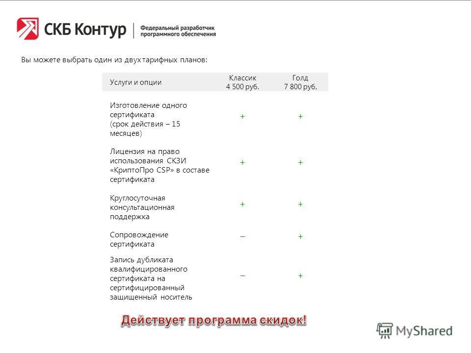 Вы можете выбрать один из двух тарифных планов: Услуги и опции Классик 4 500 руб. Голд 7 800 руб. Изготовление одного сертификата (срок действия – 15 месяцев) + + Лицензия на право использования СКЗИ «КриптоПро CSP» в составе сертификата ++ Круглосут