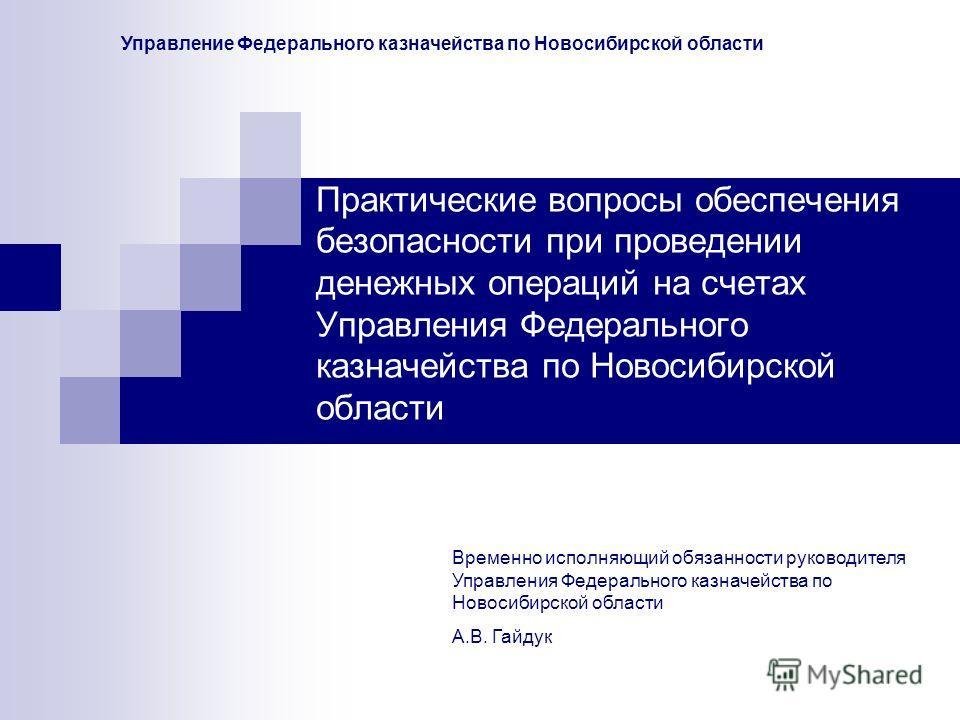Практические вопросы обеспечения безопасности при проведении денежных операций на счетах Управления Федерального казначейства по Новосибирской области Временно исполняющий обязанности руководителя Управления Федерального казначейства по Новосибирской