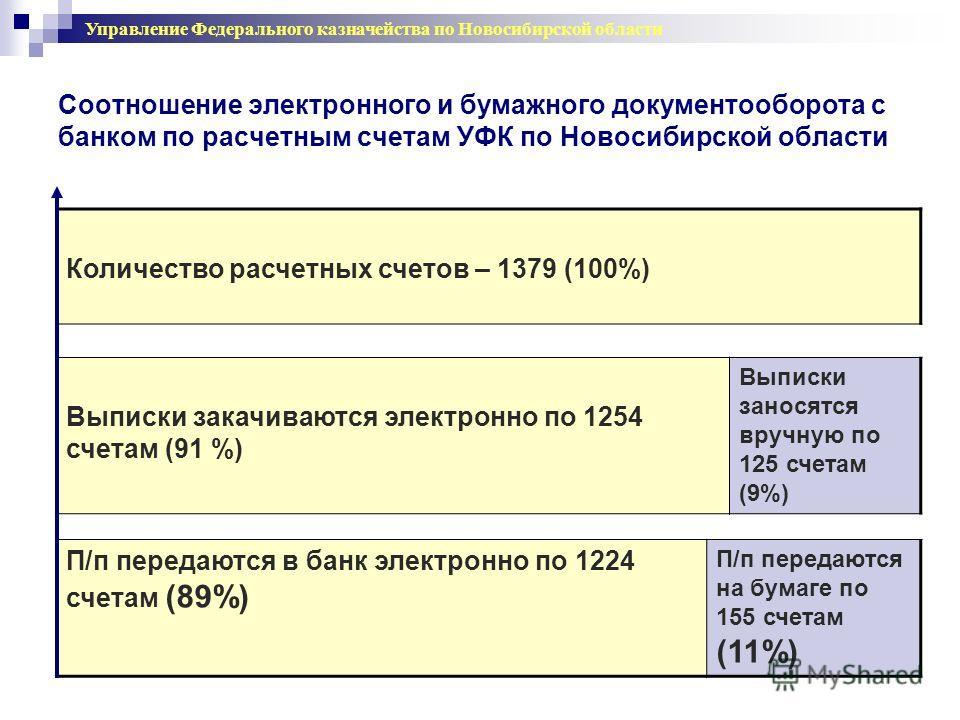 Соотношение электронного и бумажного документооборота с банком по расчетным счетам УФК по Новосибирской области Количество расчетных счетов – 1379 (100%) Выписки закачиваются электронно по 1254 счетам (91 %) Выписки заносятся вручную по 125 счетам (9