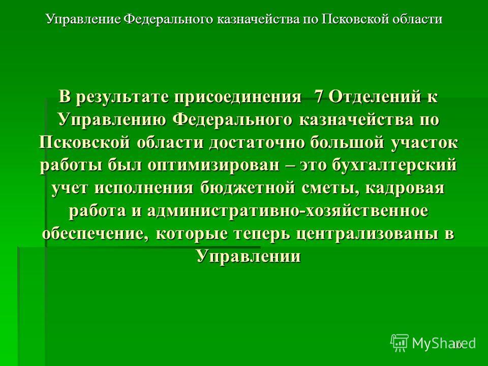 В результате присоединения 7 Отделений к Управлению Федерального казначейства по Псковской области достаточно большой участок работы был оптимизирован – это бухгалтерский учет исполнения бюджетной сметы, кадровая работа и административно-хозяйственно