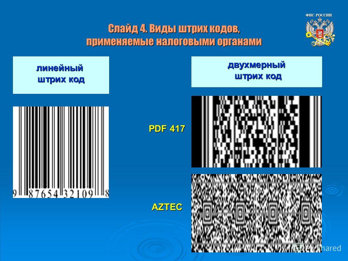 Слайд 4. Виды штрих кодов, применяемые налоговыми органами линейный штрих код двухмерный штрих код штрих код PDF 417 AZTEC