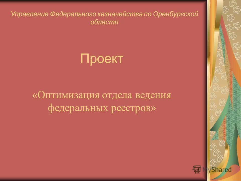 Управление Федерального казначейства по Оренбургской области Проект «Оптимизация отдела ведения федеральных реестров»