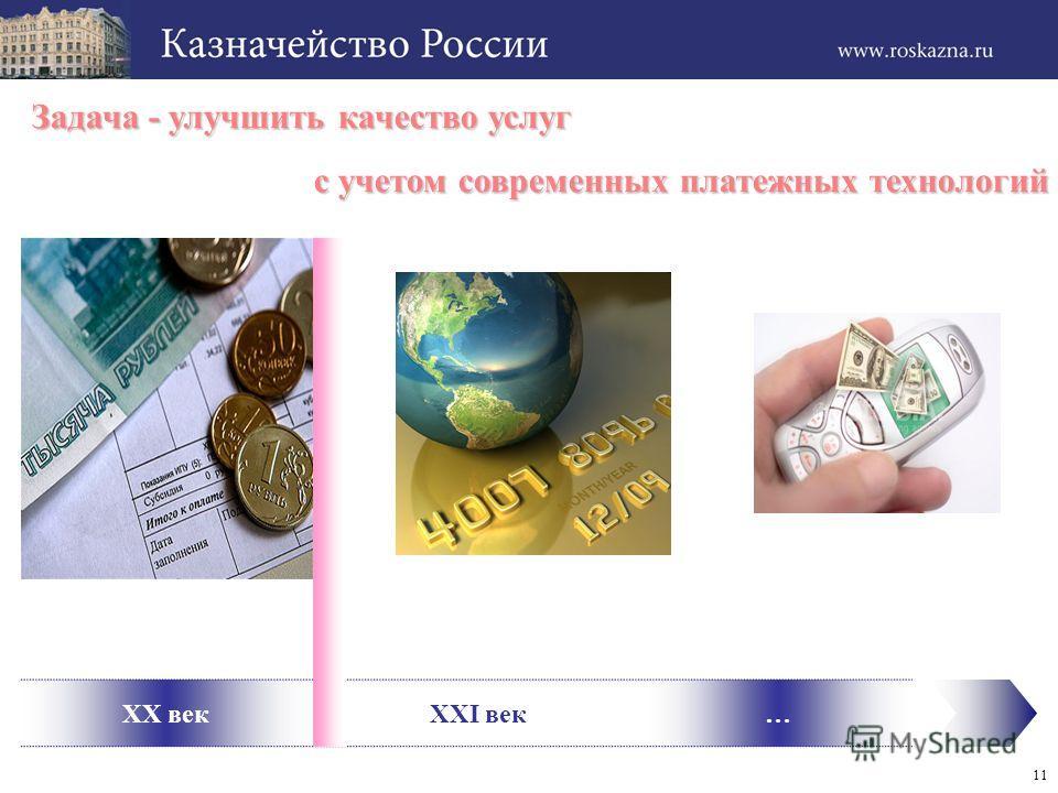 11 XX векXXI век… Задача - улучшить качество услуг с учетом современных платежных технологий с учетом современных платежных технологий