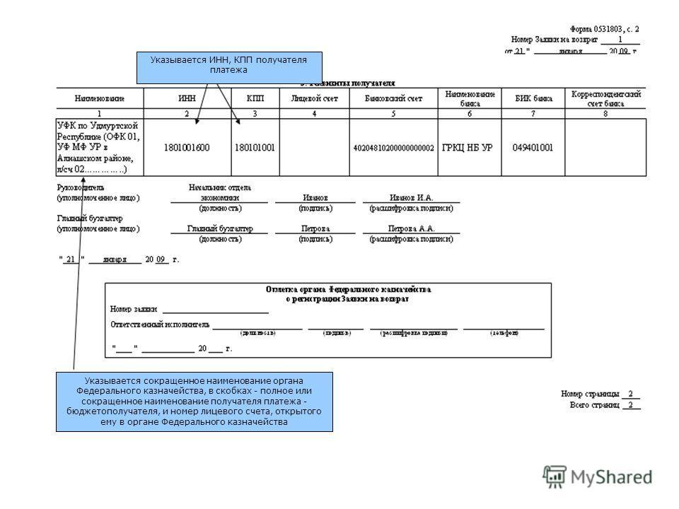 Указывается ИНН, КПП получателя платежа Указывается сокращенное наименование органа Федерального казначейства, в скобках - полное или сокращенное наименование получателя платежа - бюджетополучателя, и номер лицевого счета, открытого ему в органе Феде