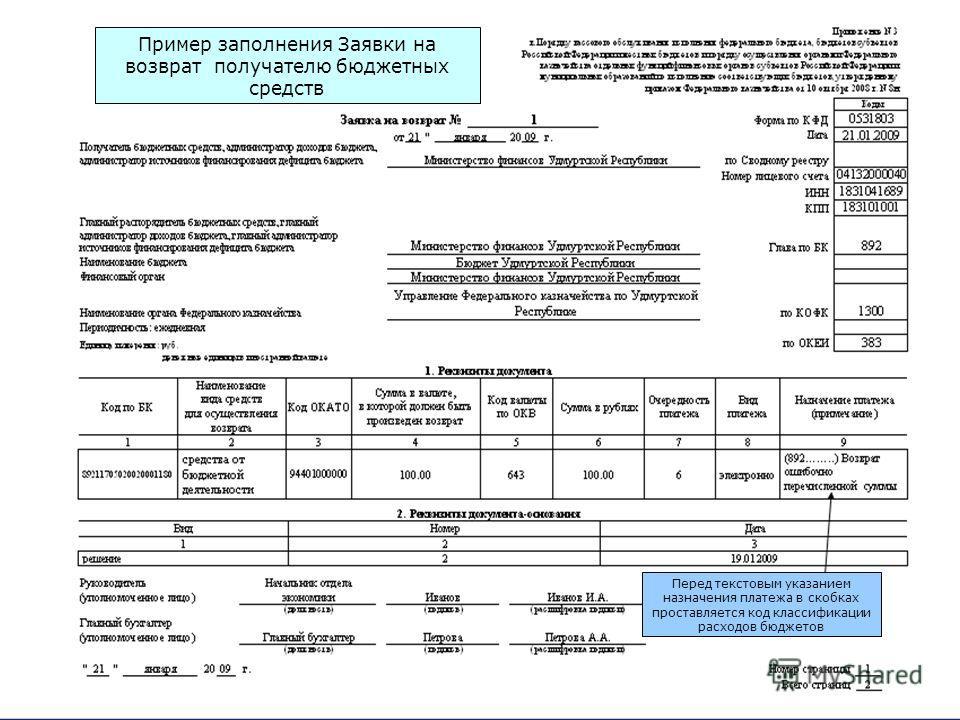 Пример заполнения Заявки на возврат получателю бюджетных средств Перед текстовым указанием назначения платежа в скобках проставляется код классификации расходов бюджетов