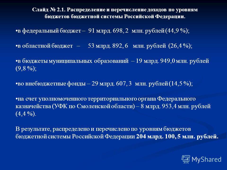 Слайд 2.1. Распределение и перечисление доходов по уровням бюджетов бюджетной системы Российской Федерации. в федеральный бюджет – 91 млрд. 698, 2 млн. рублей (44,9 %); в областной бюджет – 53 млрд. 892, 6 млн. рублей (26,4 %); в бюджеты муниципальны