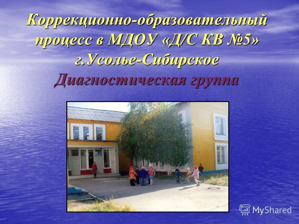Коррекционно-образовательный процесс в МДОУ «Д/С КВ 5» г.Усолье-Сибирское Диагностическая группа