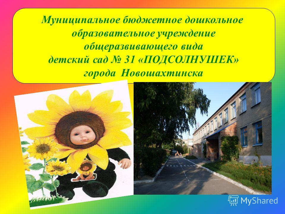 Муниципальное бюджетное дошкольное образовательное учреждение общеразвивающего вида детский сад 31 «ПОДСОЛНУШЕК» города Новошахтинска
