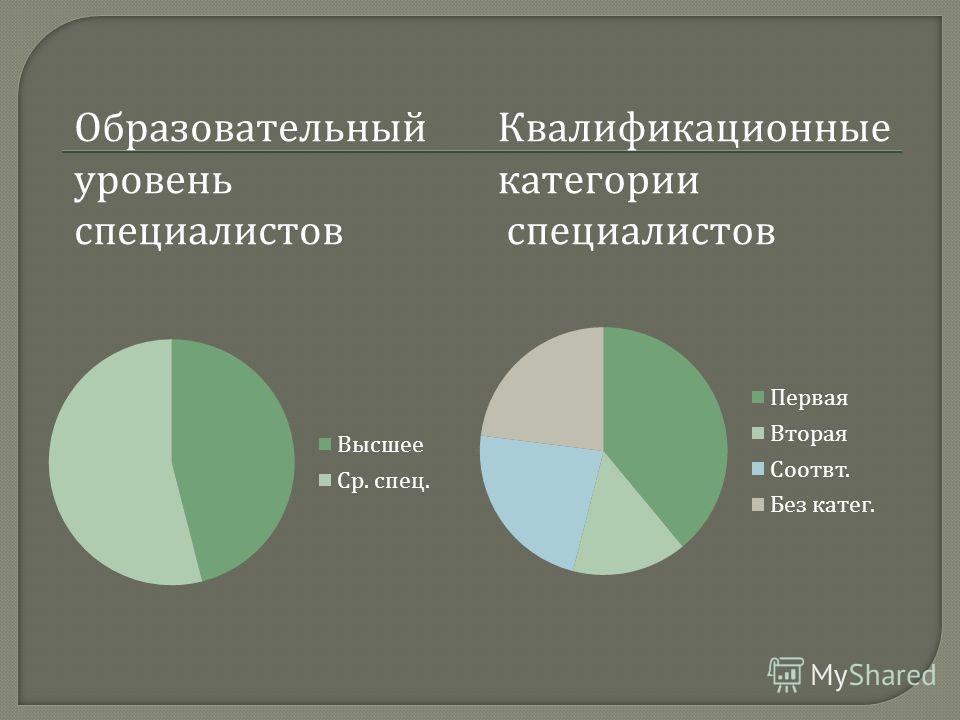 Образовательный уровень специалистов Квалификационные категории специалистов