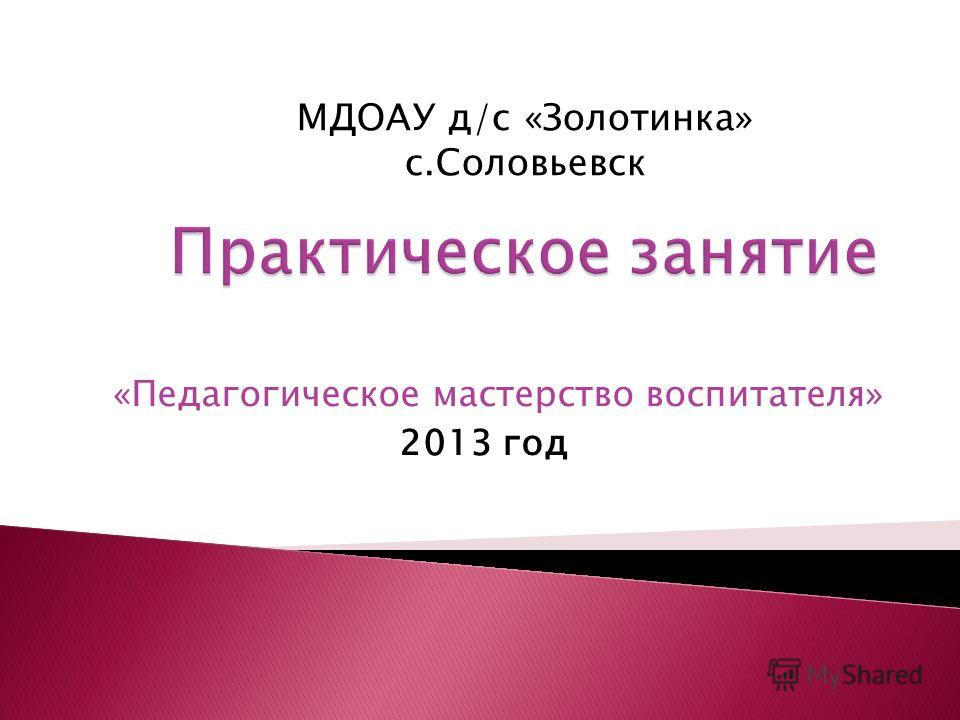 «Педагогическое мастерство воспитателя» 2013 год МДОАУ д/с «Золотинка» с.Соловьевск