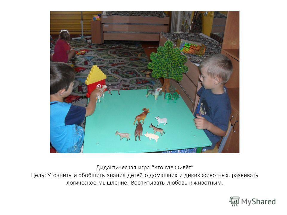 Дидактическая игра Кто где живёт Цель: Уточнить и обобщить знания детей о домашних и диких животных, развивать логическое мышление. Воспитывать любовь к животным.