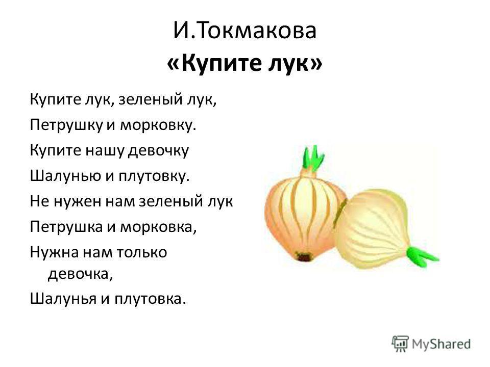 И.Токмакова «Купите лук» Купите лук, зеленый лук, Петрушку и морковку. Купите нашу девочку Шалунью и плутовку. Не нужен нам зеленый лук Петрушка и морковка, Нужна нам только девочка, Шалунья и плутовка.