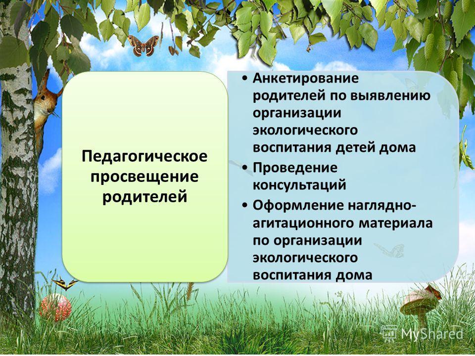 Анкетирование родителей по выявлению организации экологического воспитания детей дома Проведение консультаций Оформление наглядно- агитационного материала по организации экологического воспитания дома Педагогическое просвещение родителей