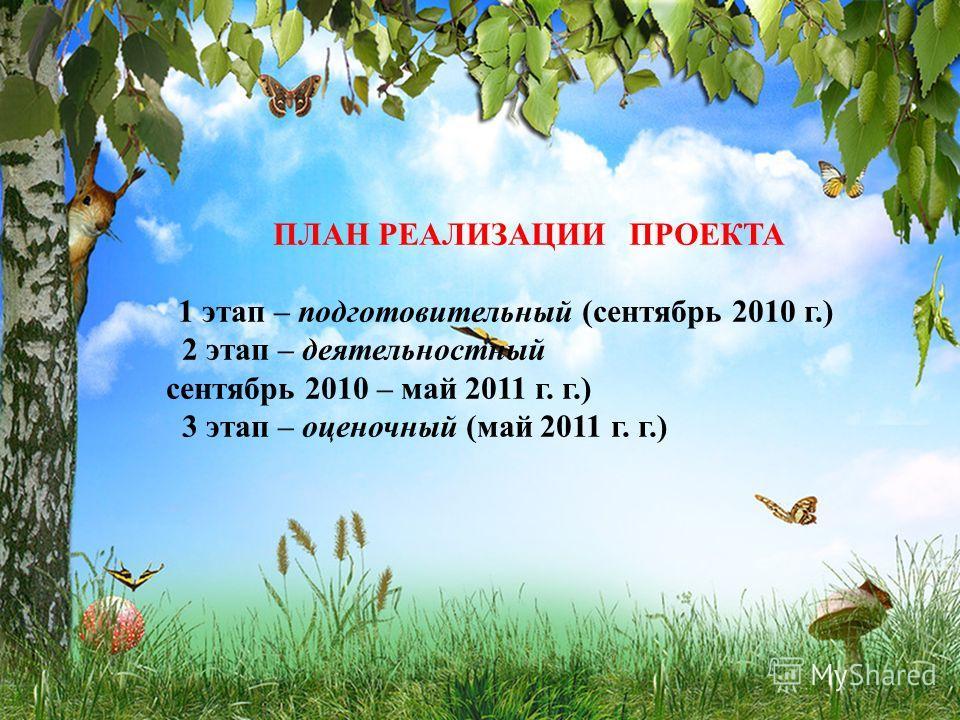 ПЛАН РЕАЛИЗАЦИИ ПРОЕКТА 1 этап – подготовительный (сентябрь 2010 г.) 2 этап – деятельностный сентябрь 2010 – май 2011 г. г.) 3 этап – оценочный (май 2011 г. г.)