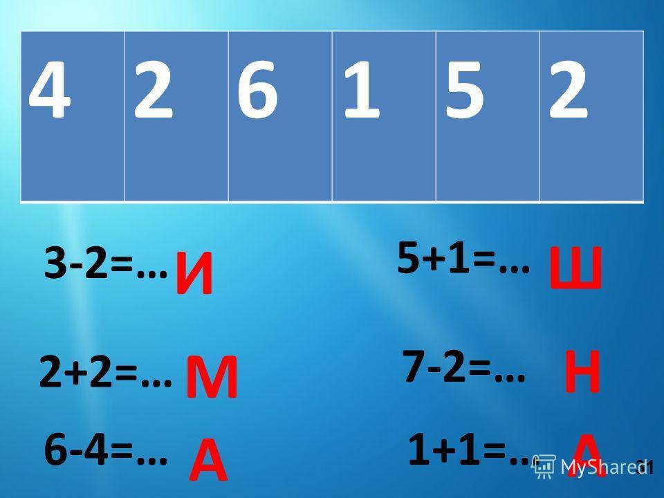 426152 3-2=… И 2+2=… М 5+1=… 7-2=… Н 6-4=… А Ш 1+1=… А 31
