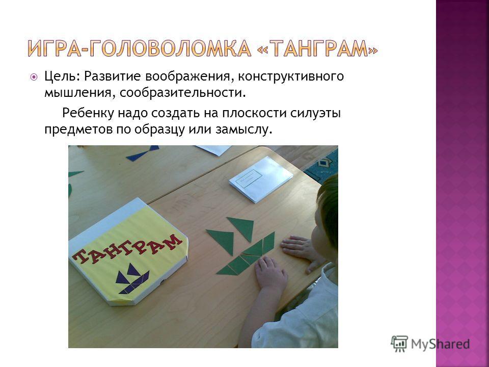 Цель: Развитие воображения, конструктивного мышления, сообразительности. Ребенку надо создать на плоскости силуэты предметов по образцу или замыслу.